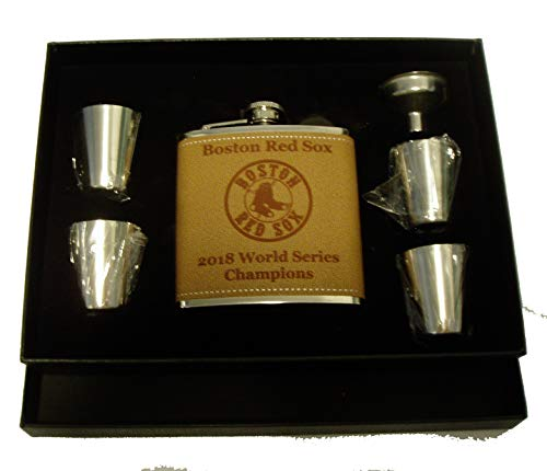 Boston Red Sox 2018 World Series Champions 6 oz leather stainless steel flask with 4 shot glasses and a funnel in a black presentation box ()