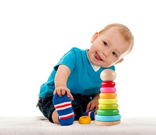 GEMEM Wooden Ring Rainbow Stacker Toddler Toys Stacking Rings Learning Toys for 1, 2 Year Old Baby