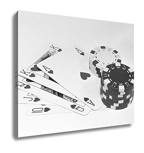 Ashley Canvas Royal Flush with Poker Chips, Wall Art Home Decor, Ready to Hang, Black/White, 16x20, AG6109033