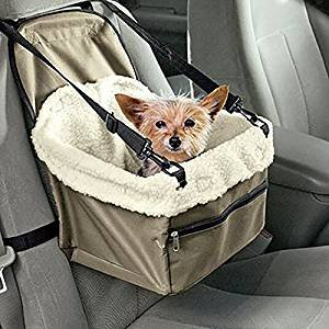 Teanfa Deluxe Portable Pet Dog Car Booster Seat Foldable Safety Front Back Crate Lookout