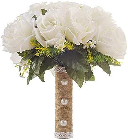 Bouquet Di Fiori Da Sposa.Xzante Artificial Bouquet Di Fiori Bianchi Bouquet Da Sposa Fatti