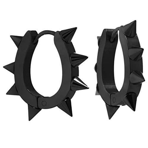 Studded Heart Earrings Large (Jewelry Men Women Spikes Studded Surgical Stainless Steel Punk Spiky Round Huggie Hoop Earrings (Black))