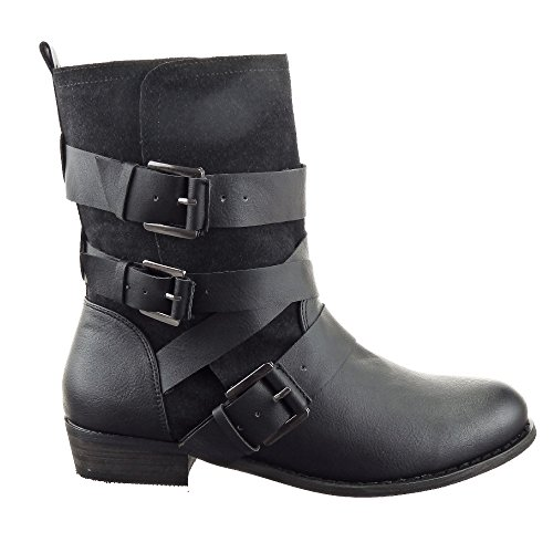 Sopily - Scarpe da Moda Stivaletti - Scarponcini Cavalier donna fibbia multi-briglia Tacco a blocco 3 CM - Nero
