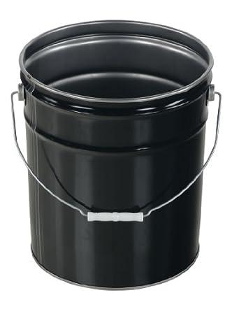 Vestil PAIL-STL-RI Steel Open Head Pail with Handle, 5 gallon Capacity, Black