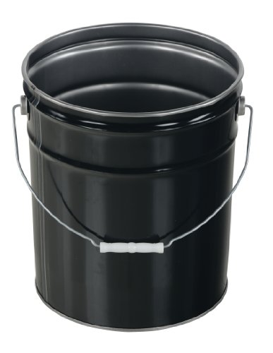 Vestil PAIL-STL-RI Steel Open Head Pail with Handle, 5 gallon Capacity, ()