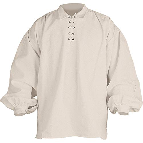 Mytholon Jonathan Shirt Medieval Shirt Cosplay LARP Renaissance Shirt (Small, Cream)