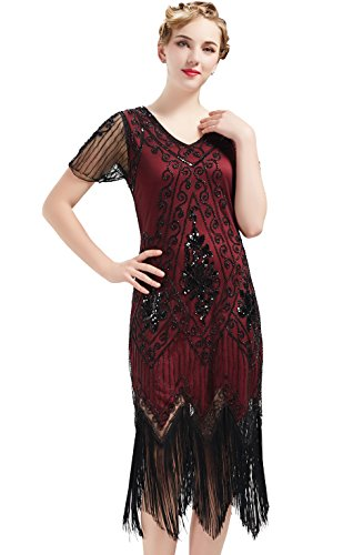 BABEYOND 1920s Art Deco Fringed Sequin Dress 20s Flapper Gatsby Costume Dress (Red and Black, XXL) -