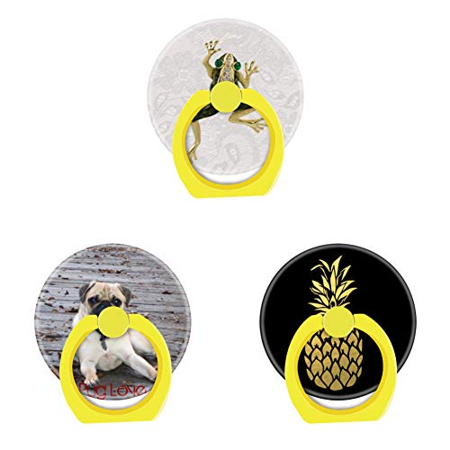 Bsxeos 360 Degree Rotation Cell Phone Ring Holder Finger Stand with Car Mount Work for All Smartphones and Tablets-Hard Shell Pug Love-Gold Foil Pineapple-Gold Frog Jewel Photo Paisley lace(3 Pack)