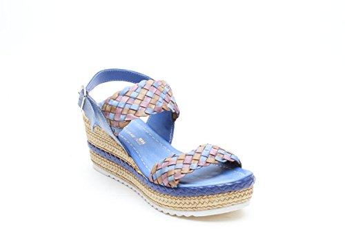 Scarpe italiane sandali zeppa leggera blu