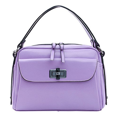 Purple Women's Yiji Satchel Padlock Briefcase Structured Handbag zUnSZwvq