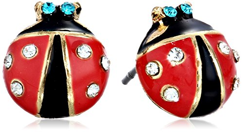 Betsey Johnson Red and Black Ladybug Stud -