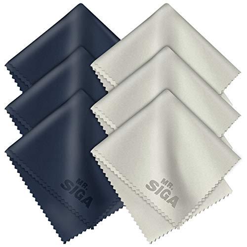 MR.SIGA Premium Microfiber Cleaning Cloths for Lens, Eyeglasses, Screens, Tablets, Glasses, 6 Pack, 6 x 7 inch