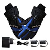 USB Rechargeable Electric Heated Gloves, Unisex Waterproof and Windproof Winter Warm Ski Cycling Hiking Camping Gloves Outdoor Sports Gloves Compatible Men Women
