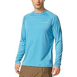 Baleaf Men's UPF 50+ Outdoor Running Long Sleeve T-Shirt Blue Size XL