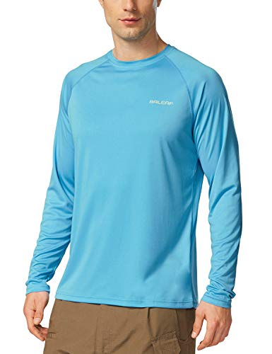 Bike Run Blocks Swim - Baleaf Men's UPF 50+ Outdoor Running Long Sleeve T-Shirt Blue Size L
