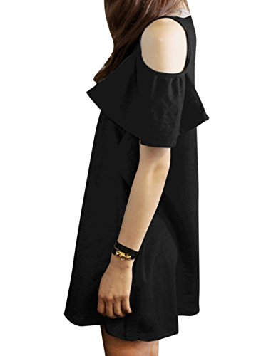 Sleeves Woman Dress Neck Allegra Out Cut K Butterfly Shoulder Tunic Round Black 7Bvx8v5qS