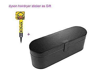 Dyson Supersonic Hair Dryer Case, Portable Magnetic Flip PU Leather Moistureproof Anti-scratch Dustproof Organizer Travel Gift Case for Dyson Supersonic Hair Dryer black