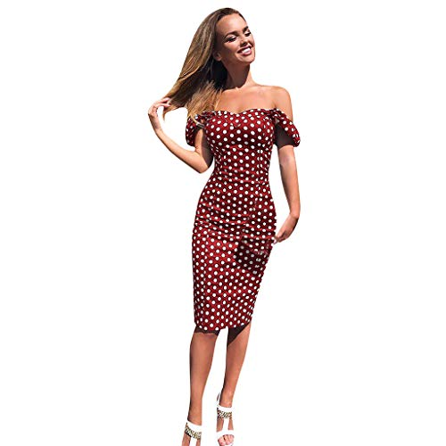 - Mayunn Women's Sexy Off Shoulder Dress Dot Printed Bodycon Evening Party Short Mini Dress