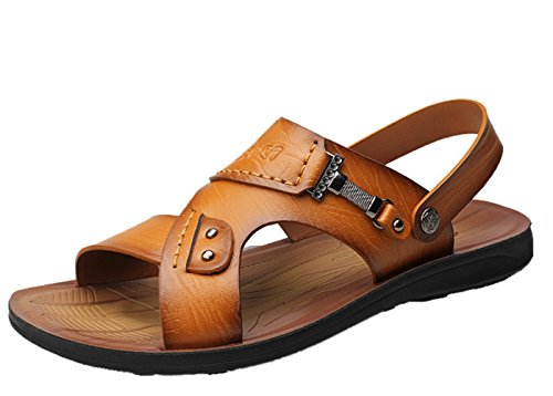 Strap Men's Flat Sandal Beach Brown Leather Chickle wIxpTdd