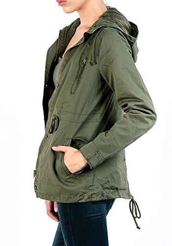 Fashion Boomy Womens Zip Up Military Anorak Jacket W/Hood,XXXL
