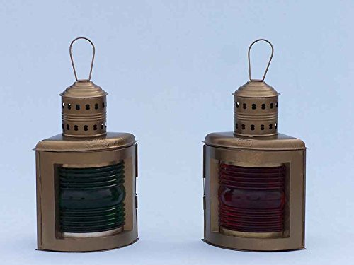 Antique Brass Port And Starboard Oil Lantern 17''- Nautical Lamp- Nautical Decor by Handcrafted Model Ships