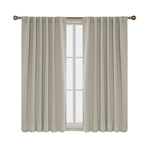 (Deconovo Back Tab and Rod Pocket Solid Thermal Insulated Blackout Curtain and Drapes for Bedroom 52W x 63L Inch Set of 2 Panels Light Beige)