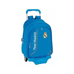 Real Madrid - Mochila grande con ruedas, 33 x 43 x 15 cm, color azul (Safta 611456313)
