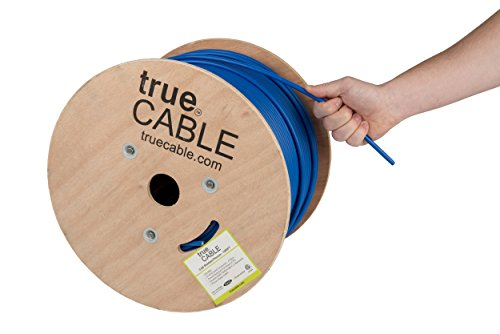 Blue Plenum Cables (Shielded Cat6 Plenum (CMP), 1000ft, Blue, 23AWG Solid Bare Copper, 550MHz, ETL Listed, Overall Foil Shield (FTP), Bulk Ethernet Cable, trueCABLE)