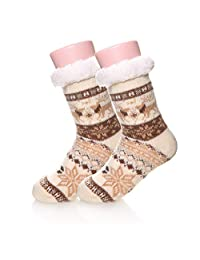 Children Boy Girl Soft Warm Winter Fuzzy Christmas Deer Kids Slipper Socks
