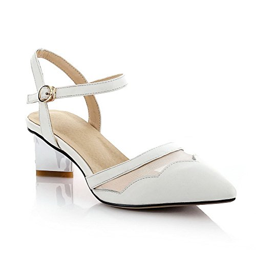 VogueZone009 Women's Buckle Closed Toe Kitten-Heels Blend Materials Solid Sandals White nXe9coBC