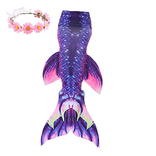 Familycrazy Mermaid with Tail Swimsuit Wet/Dry Outfit with Flower Headband (Adult Medium, Dark Purple+White) for $<!--$19.99-->