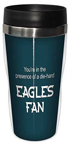 Tree-Free Greetings sg24131 Eagles Football Fan Sip 'N Go Stainless Steel Lined Travel Tumbler, 16-Ounce