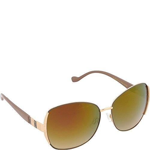 Jessica Simpson Women's J5358 GLDND Non-Polarized Iridium Oval Sunglasses, Gold Nude, 60 mm