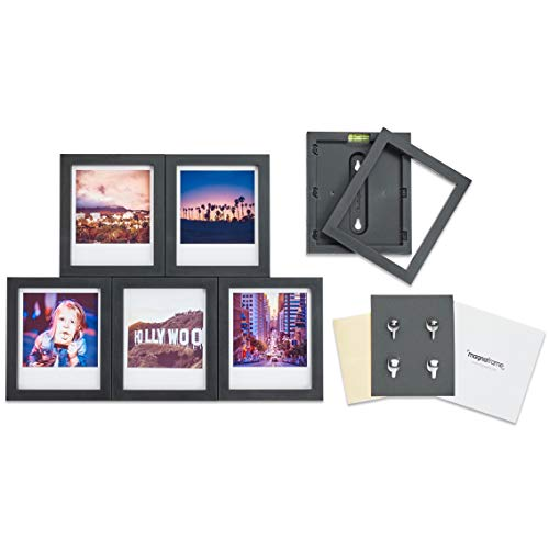 Memories Photo Magnet - MAGNAFRAME Magnetic Picture Frame for Polaroid Instant Photos - Photo Gallery 6 Pack (Black)