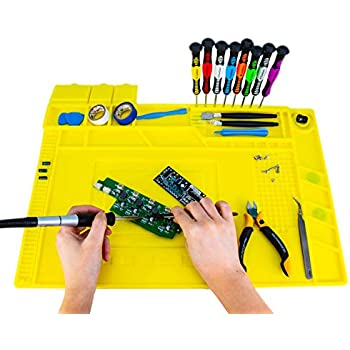 KOTTO Anti-Static ESD Safe Magnetic Soldering Mat, Silicone Repair Mat, includes Repair Tools Kit and Anti Static Grounding Wire for BGA Soldering Iron, Heat Gun, Cell Phone Laptop (18 x 12 inch)