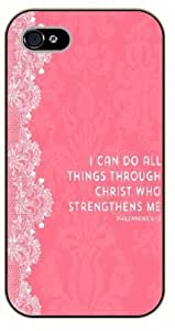 Diy For LG G3 Case Cover Bible Verse - Pink floral. I can do all things through Christ who strengthens me. Philippians 4:13 - black plastic Verses, Inspirational and Motivational
