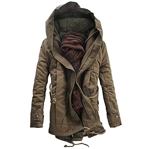 DaySeventh Men Winter Warm Hooded Zip Thick Solid Fleece Coat Outwear Wind Jacket ()