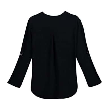 5932f29f5b3 Sale Clearance Women s Blouse Sunday77 Tops Daily Solid V-Neck Chiffon Work  Office Pullover 3