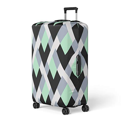 Pinbeam Luggage Cover Geometric Bold Lines and Mosaic Tiles in Blue Travel Suitcase Cover Protector Baggage Case Fits 18-22 ()
