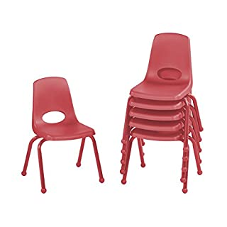 "ECR4Kids 14"" School Stack Chair with Powder Coated Legs and Ball Glides, Red (6-Pack)"