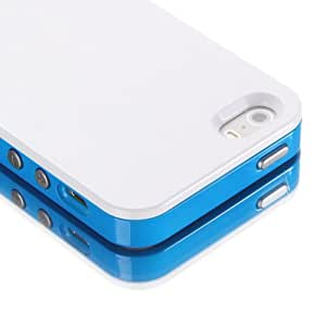 Kaiwo™ Hybrid Case with Shock Absorbent Protective Bumper and Scratch Resistant Back Cover for Apple iPhone 5S 5 with Screen Protector (Blue/White)