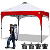 ABCCANOPY Tents 10 x 10 Pop Up Canopy Tent Beach Canopy Instant Shelter Tents Canopy Popup Outdoor Portable Shade with Wheeled Carry Bag Bonus Extra 4 x Weight Bags