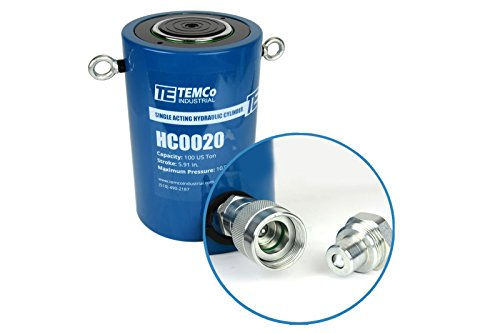TEMCo HC0020 - Hydraulic Cylinder Ram Single Acting 100 TON 6