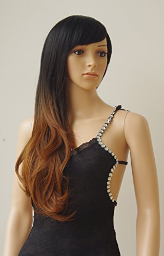 28''/70cm Brown Ombre Long Cosplay Wig with Bangs 2 Tone Color Natural Wave Heat Resistant Synthetic Costume Wigs Dyeing Color Curly Wavy Party Dress,Black to Brown by Sexybaby (Image #4)