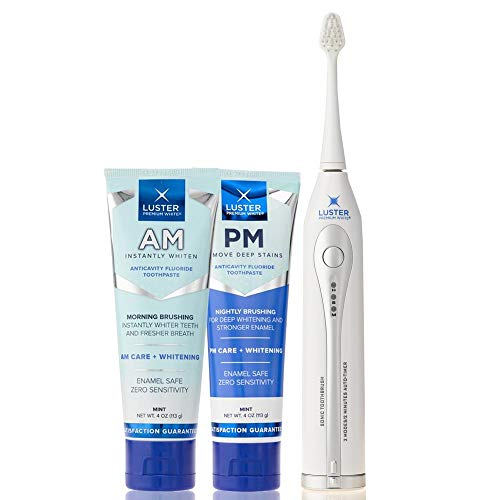 - Luster Premium White | AM & PM Anticavity Fluoride Toothpaste Kit with Sonic Toothbrush, Mint, 4 oz