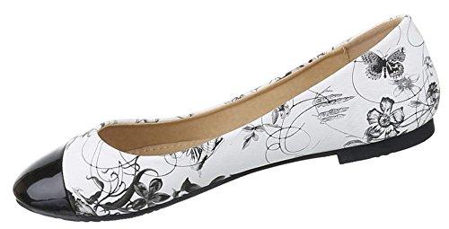 Damen Ballerinas Schuhe Loafers Pumps Slipper schwarz blau rot weiss 36 37 38 39 40 41 Schwarz