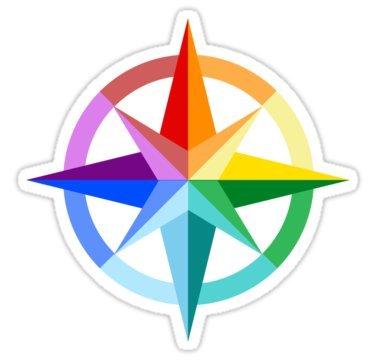 Rainbow Compass Rose - Sticker Graphic Bumper Window Sicker Decal - Gay Pride Sticker
