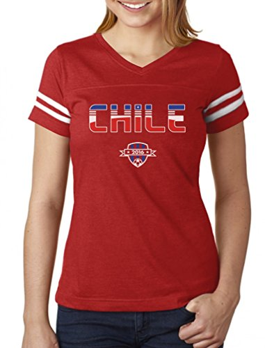 2016 Chile - TeeStars - Chile National Soccer Team 2016 Fans Women Football Jersey T-Shirt Large red/White