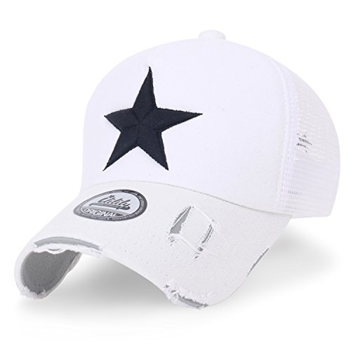ililily Star Embroidery tri-Tone Trucker Hat Adjustable Cotton Baseball Cap (Medium, White Mesh)