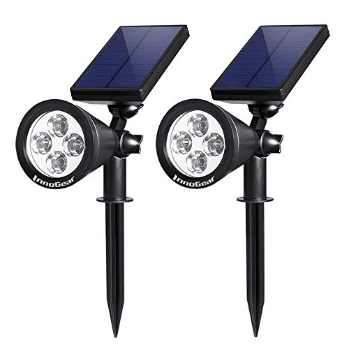 2 Spotlight Directional - InnoGear Upgraded Solar Lights 2-in-1 Waterproof Outdoor Landscape Lighting Spotlight Wall Light Auto On/Off for Yard Garden Driveway Pathway Pool,Pack of 2 (White Light)